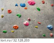 Купить «exercise wall at indoor climbing gym», фото № 32128203, снято 2 марта 2017 г. (c) Syda Productions / Фотобанк Лори
