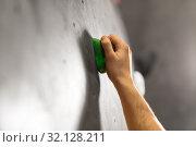 Купить «male hand holding to indoor climbing wall», фото № 32128211, снято 2 марта 2017 г. (c) Syda Productions / Фотобанк Лори