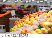 Купить «ripe apples at grocery store or supermarket», фото № 32129075, снято 1 февраля 2017 г. (c) Syda Productions / Фотобанк Лори