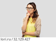Купить «asian woman in glasses or student», фото № 32129427, снято 11 мая 2019 г. (c) Syda Productions / Фотобанк Лори