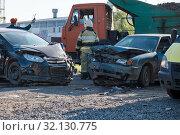 Купить «accident of two cars on the road», фото № 32130775, снято 4 сентября 2019 г. (c) Дмитрий Бачтуб / Фотобанк Лори