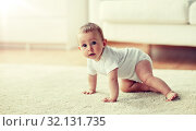 little baby in diaper crawling on floor at home. Стоковое фото, фотограф Syda Productions / Фотобанк Лори