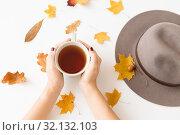 Купить «hands with cup of tea, autumn leaves and hat», фото № 32132103, снято 25 октября 2018 г. (c) Syda Productions / Фотобанк Лори