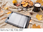 Купить «tablet computer, hot chocolate and autumn leaves», фото № 32132347, снято 26 октября 2018 г. (c) Syda Productions / Фотобанк Лори