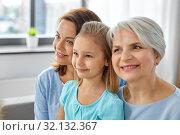 Купить «portrait of mother, daughter and grandmother», фото № 32132367, снято 5 мая 2019 г. (c) Syda Productions / Фотобанк Лори