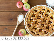 Купить «close up of apple pie on wooden table», фото № 32133055, снято 23 августа 2018 г. (c) Syda Productions / Фотобанк Лори