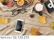 Купить «smartphone, hot chocolate and autumn leaves», фото № 32133215, снято 26 октября 2018 г. (c) Syda Productions / Фотобанк Лори