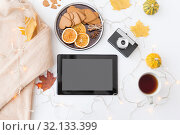 Купить «tablet computer, camera, autumn leaves and garland», фото № 32133399, снято 26 октября 2018 г. (c) Syda Productions / Фотобанк Лори