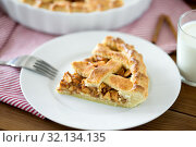 Купить «close up of apple pie and fork on plate», фото № 32134135, снято 23 августа 2018 г. (c) Syda Productions / Фотобанк Лори