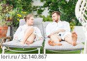 Купить «couple relaxing in spa hotel», фото № 32140867, снято 24 апреля 2018 г. (c) Яков Филимонов / Фотобанк Лори