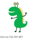 Funny smiling dinosaur. Vector illustration. Cute cartoon character. Стоковая иллюстрация, иллюстратор Надежда Ворович / Фотобанк Лори
