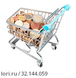 Купить «Shopping carriage with euro coins isolated on white background», фото № 32144059, снято 29 января 2020 г. (c) easy Fotostock / Фотобанк Лори
