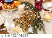 Купить «bread slices and other food on christmas table», фото № 32144659, снято 17 декабря 2017 г. (c) Syda Productions / Фотобанк Лори