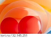 Купить «Multilayer rounded color elements. Background creative art photography.», фото № 32145251, снято 28 апреля 2019 г. (c) Olesya Tseytlin / Фотобанк Лори