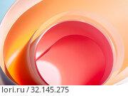 Купить «Background from multicolored half-round elements with a gradient close-up.», фото № 32145275, снято 28 апреля 2019 г. (c) Olesya Tseytlin / Фотобанк Лори