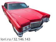 Old red American car is isolated. Стоковое фото, фотограф Юрий Бизгаймер / Фотобанк Лори