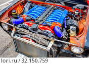 Купить «Tuned turbo car engine BMW in Lada», фото № 32150759, снято 19 мая 2018 г. (c) FotograFF / Фотобанк Лори
