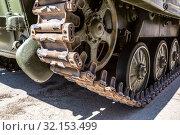 Купить «Caterpillar of the Russian armored tank», фото № 32153499, снято 5 мая 2018 г. (c) FotograFF / Фотобанк Лори
