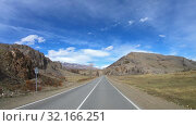 Купить «Driving along mountain road Chuysky Tract along Kurai Ridge on Altai at Spring season», видеоролик № 32166251, снято 3 июля 2019 г. (c) Serg Zastavkin / Фотобанк Лори