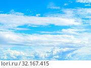 Купить «Небесный пейзаж. Синее небо. Blue sky background - picturesque colorful clouds lit by sunlight, picturesque sky scene», фото № 32167415, снято 3 июля 2018 г. (c) Зезелина Марина / Фотобанк Лори
