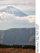 Купить «Mount Fuji summit in the clouds. Hakone area of Kanagawa Prefecture in Honshu. Japan», фото № 32167527, снято 1 декабря 2007 г. (c) Serg Zastavkin / Фотобанк Лори