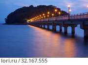 Купить «Night view on bridge from Take Island to Gamagori, Japan», фото № 32167555, снято 18 октября 2007 г. (c) Serg Zastavkin / Фотобанк Лори
