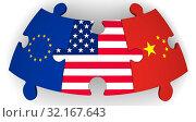 Купить «Сотрудничество Соединённых Штатов Америки, Европейского союза и Китая», иллюстрация № 32167643 (c) WalDeMarus / Фотобанк Лори