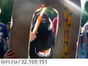 Купить «September 11, 2019 - Manifestation against the catalan politicians in fron of the Catalonia Parliament in Barcelona.», фото № 32169151, снято 11 сентября 2019 г. (c) age Fotostock / Фотобанк Лори