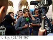 Купить «September 11, 2019 - Manifestation against the catalan politicians in fron of the Catalonia Parliament in Barcelona.», фото № 32169167, снято 11 сентября 2019 г. (c) age Fotostock / Фотобанк Лори