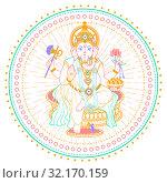 Купить «Ganesh Chaturthi linear style icon», иллюстрация № 32170159 (c) Седых Алена / Фотобанк Лори