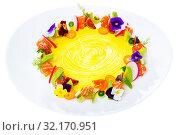 Купить «Fresh trout tartare formed as wreath with vegetables, fruits, flowers», фото № 32170951, снято 15 ноября 2019 г. (c) Яков Филимонов / Фотобанк Лори
