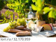 Купить «White wine, cheese, bread and grapes in vineyard», фото № 32170959, снято 21 февраля 2020 г. (c) Яков Филимонов / Фотобанк Лори