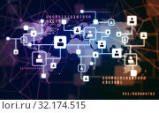 virtual icons of social network over world map. Стоковое фото, фотограф Syda Productions / Фотобанк Лори