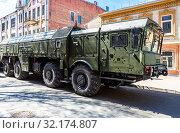 Купить «Russian mobile ballistic missile system 9K720 Iskander», фото № 32174807, снято 5 мая 2018 г. (c) FotograFF / Фотобанк Лори