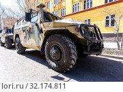 Купить «High-mobility vehicles GAZ-2330 Tigr», фото № 32174811, снято 5 мая 2018 г. (c) FotograFF / Фотобанк Лори