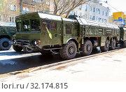 Купить «Russian mobile ballistic missile system 9K720 Iskander», фото № 32174815, снято 5 мая 2018 г. (c) FotograFF / Фотобанк Лори