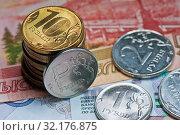 Купить «Российские деньги. Рублевые монеты и банкноты», фото № 32176875, снято 10 августа 2019 г. (c) E. O. / Фотобанк Лори