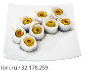 Купить «Herring rolls with stuffed olives», фото № 32178259, снято 16 сентября 2019 г. (c) Яков Филимонов / Фотобанк Лори