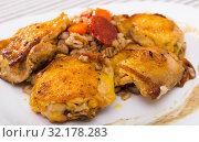 Купить «Image of fried chicken wings with barley porridge», фото № 32178283, снято 2 июля 2018 г. (c) Яков Филимонов / Фотобанк Лори