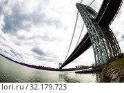 Купить «Underneath George Washington Bridge near New York», фото № 32179723, снято 17 апреля 2018 г. (c) Сергей Новиков / Фотобанк Лори