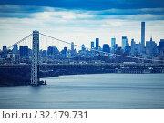 Купить «George Washington suspension Bridge and New York», фото № 32179731, снято 17 апреля 2018 г. (c) Сергей Новиков / Фотобанк Лори