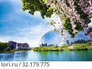 Купить «MAY 05, 2019: European Parliament building», фото № 32179775, снято 5 мая 2019 г. (c) Сергей Новиков / Фотобанк Лори