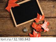 Купить «Autumnal flat lay with chalkboard», фото № 32180843, снято 13 августа 2019 г. (c) Wavebreak Media / Фотобанк Лори