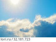 Купить «Небесный закатный пейзаж. Синее небо. Blue sky background - picturesque colorful clouds lit by sunlight, picturesque sky landscape», фото № 32181723, снято 16 сентября 2018 г. (c) Зезелина Марина / Фотобанк Лори