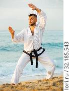Купить «Guy doing karate poses», фото № 32185543, снято 19 июля 2017 г. (c) Яков Филимонов / Фотобанк Лори