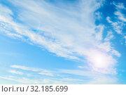 Небесный пейзаж. Синее небо. Blue sky background. Picturesque colorful clouds lit by sunlight. Picturesque sky view in bright tones. Стоковое фото, фотограф Зезелина Марина / Фотобанк Лори