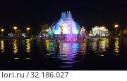 Renewed Fountain of Friendship at night (2019 год). Редакционное видео, видеограф Потийко Сергей / Фотобанк Лори