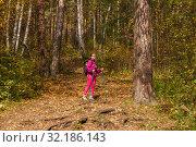 Купить «Woman trekking in the autumn forest», фото № 32186143, снято 15 сентября 2019 г. (c) Евгений Харитонов / Фотобанк Лори