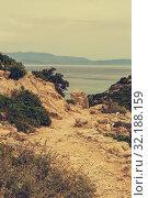 Купить «View of the mountains and the sea from the cliff», фото № 32188159, снято 19 мая 2019 г. (c) Татьяна Ляпи / Фотобанк Лори