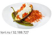Купить «Tasty eggplant stuffed with vegetables», фото № 32188727, снято 15 декабря 2019 г. (c) Яков Филимонов / Фотобанк Лори